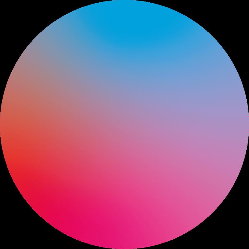 Kreisförmiger Verlauf aus rot, pink und hellblau
